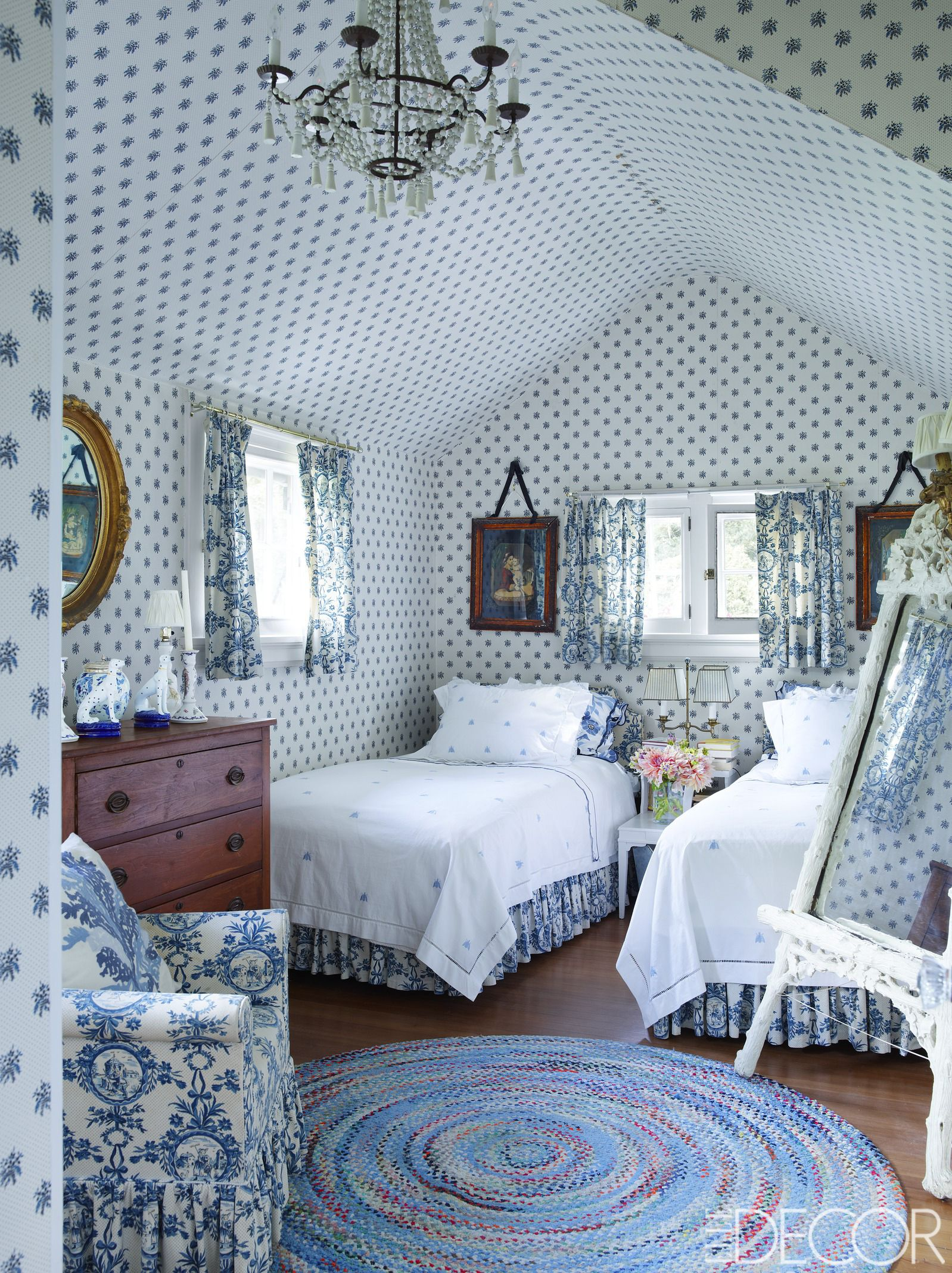 Fabulous Chambray Blue & White Cottage Bedroom ❤❤❤