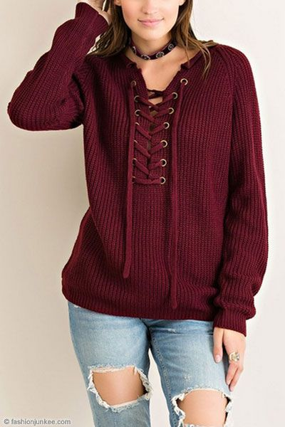 15b26156ff Thick Long Sleeve Chunky Lace Up Sweater Top-Burgundy Red