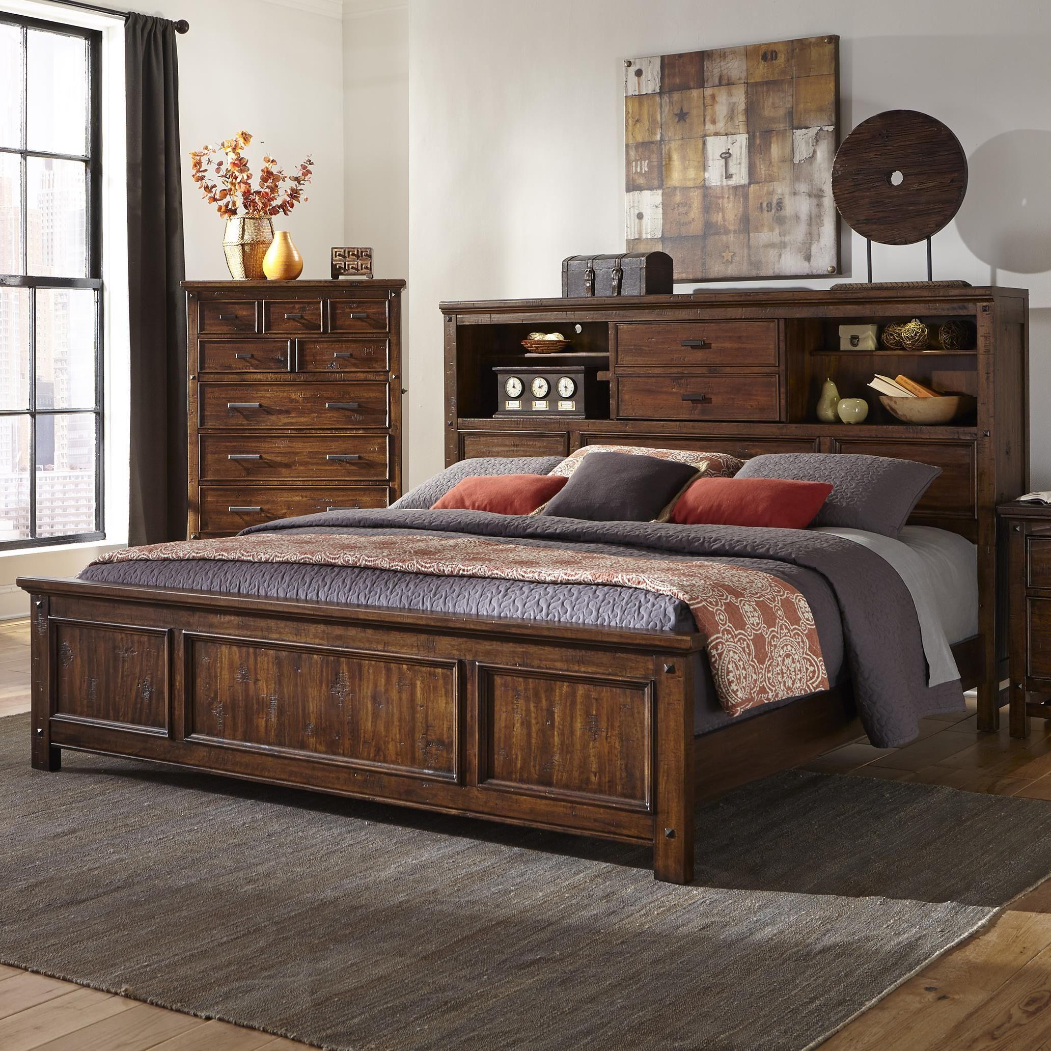 Wolf Creek Queen Bookcase Bed by Intercon Rustic bedroom