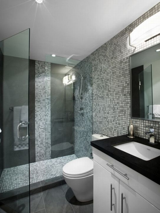 Bathroom ideas paint colors with white furniture and ceiling also with dark grey of main tiles Bathroom design ideas colors