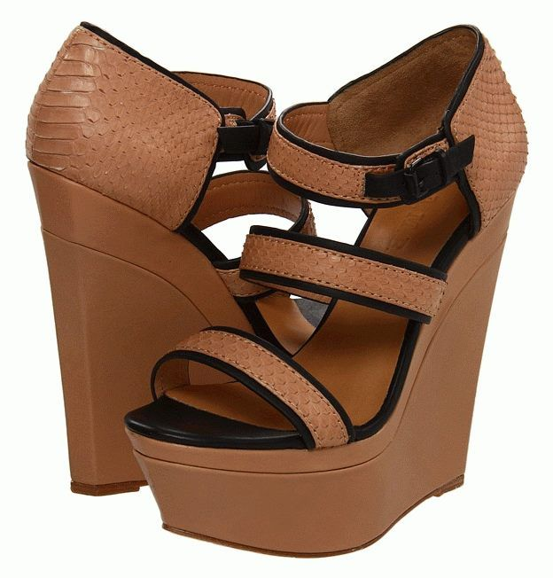 L.A.M.B Inesa Platform Wedge with White /& Tan Leather