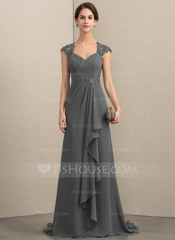 JJsHouse A-Line Sweetheart Sweep Train Chiffon Lace Mother of the Bride Dress With Beading Sequins