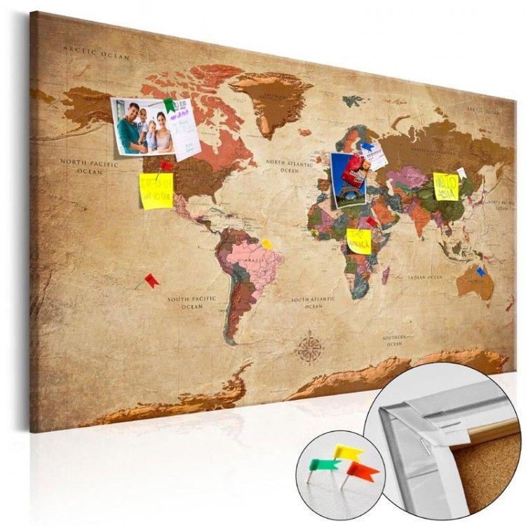 Cartina Mondo In Sughero.Bacheca In Sughero Planisfero Elegance Formato Quadro Mappa Del Mondo Sughero Parete Di Sughero