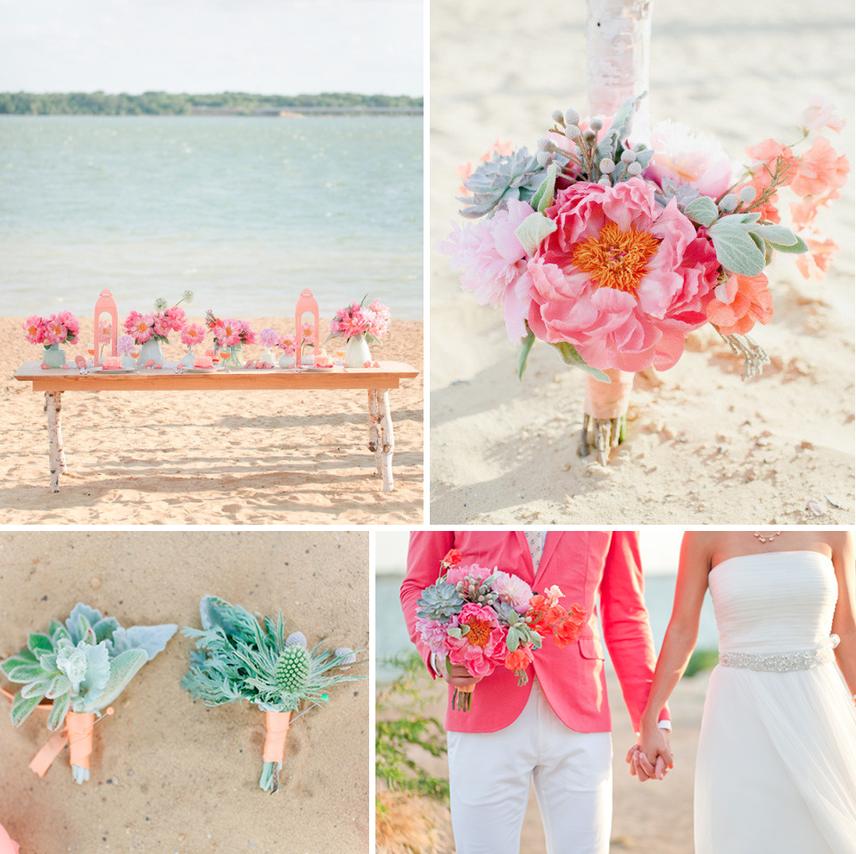 flowers for a beach wedding. beach romance wedding flowers pink peonies with mint green succulents for a c