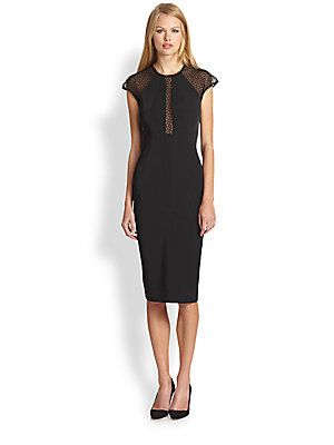 Rachel Roy Spider-Mesh Twill Dress