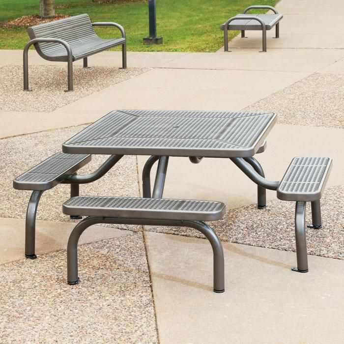 Ultra Perforated Steel Table Picnic Tables Upbeatcom - Steel picnic table frame