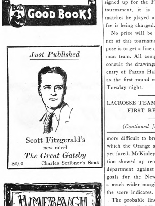 A 1925 ad for The Great Gatsby, from The Princetonian