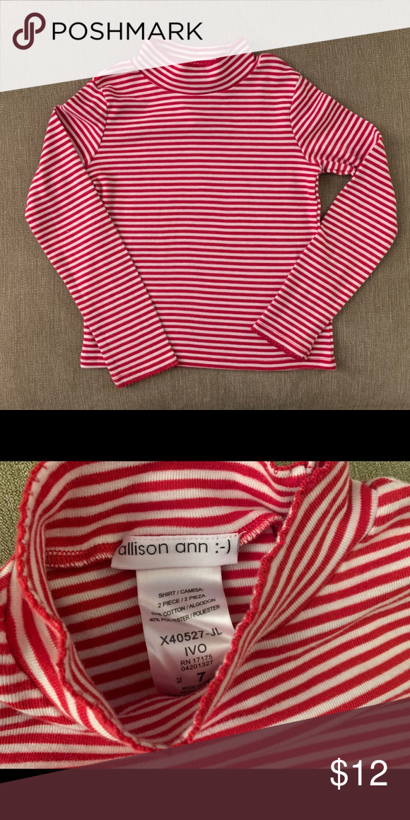 Red White Stripe Turtleneck Red And White Stripe Turtleneck Size 7 Shirts Tops Tees Long Sleeve Red And White Stripes Striped Turtleneck White Stripe