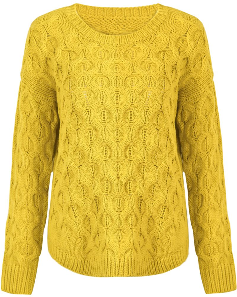 Yellow Long Sleeve Asymmetrical Cable Knit Sweater US$31.15 | Tops ...
