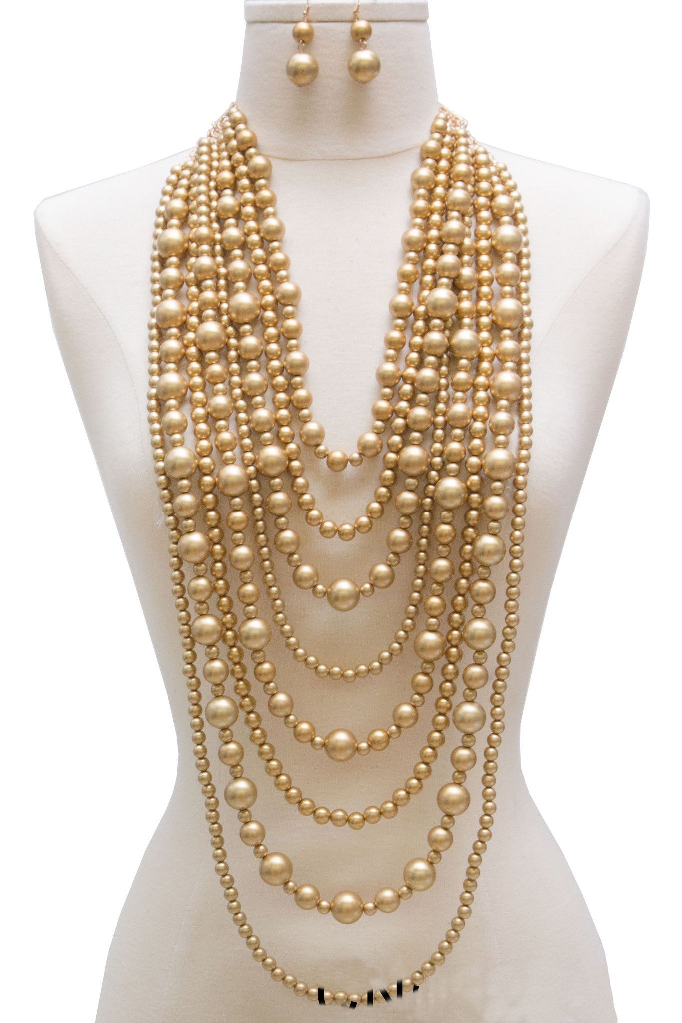 Audrey Multi Strand Simulated Pearl Statement Necklace And Earrings Set