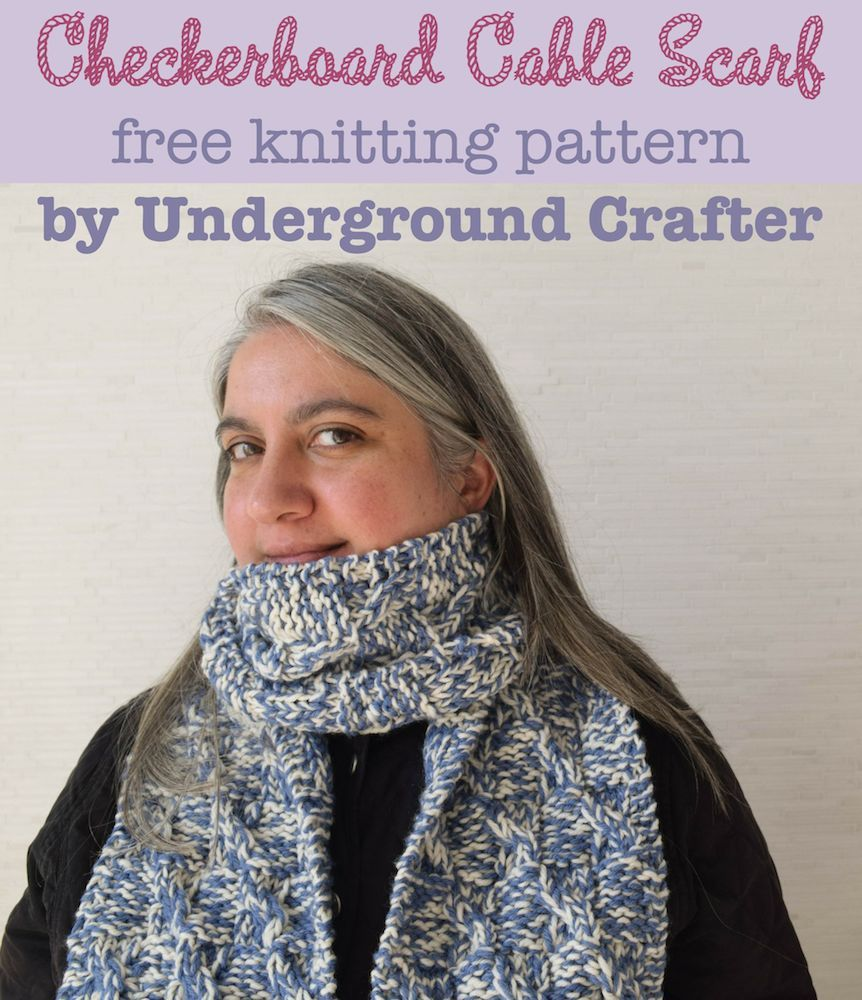 Checkerboard Cable Scarf, free unisex #knitting pattern by Marie ...