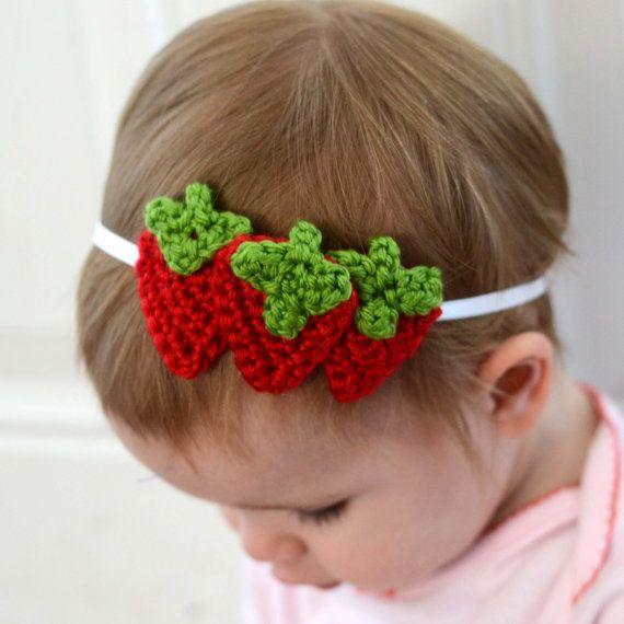 Three strawberries strawberry crochet headband - baby and child sizes available Strawberry Shortcake Party Hairband on Etsy, $8.00