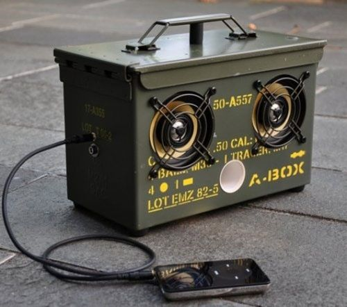 Ammunition box speakers.