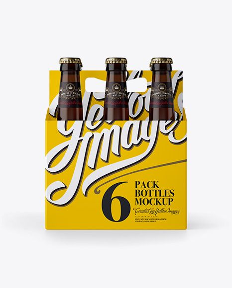 White Paper 6 Pack Amber Bottle Carrier Mockup. Preview