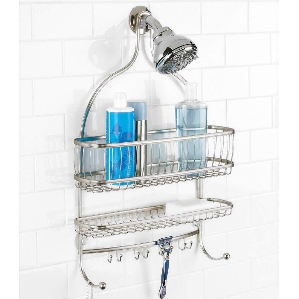 Bath Shower Caddy Storage Extra Wide Steel Hanging Shelf Bathroom ...
