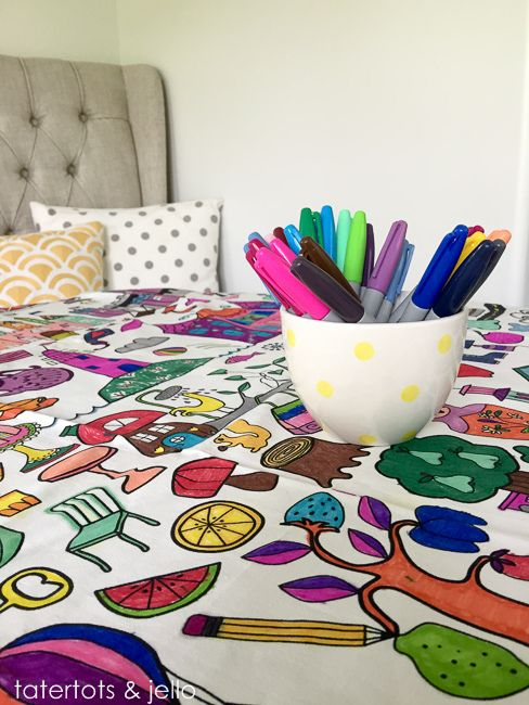 Easy Kids Activity Idea Tablecloth Coloring Tatertots And Jello Easy Kid Activities Ikea Fabric Easy Kids