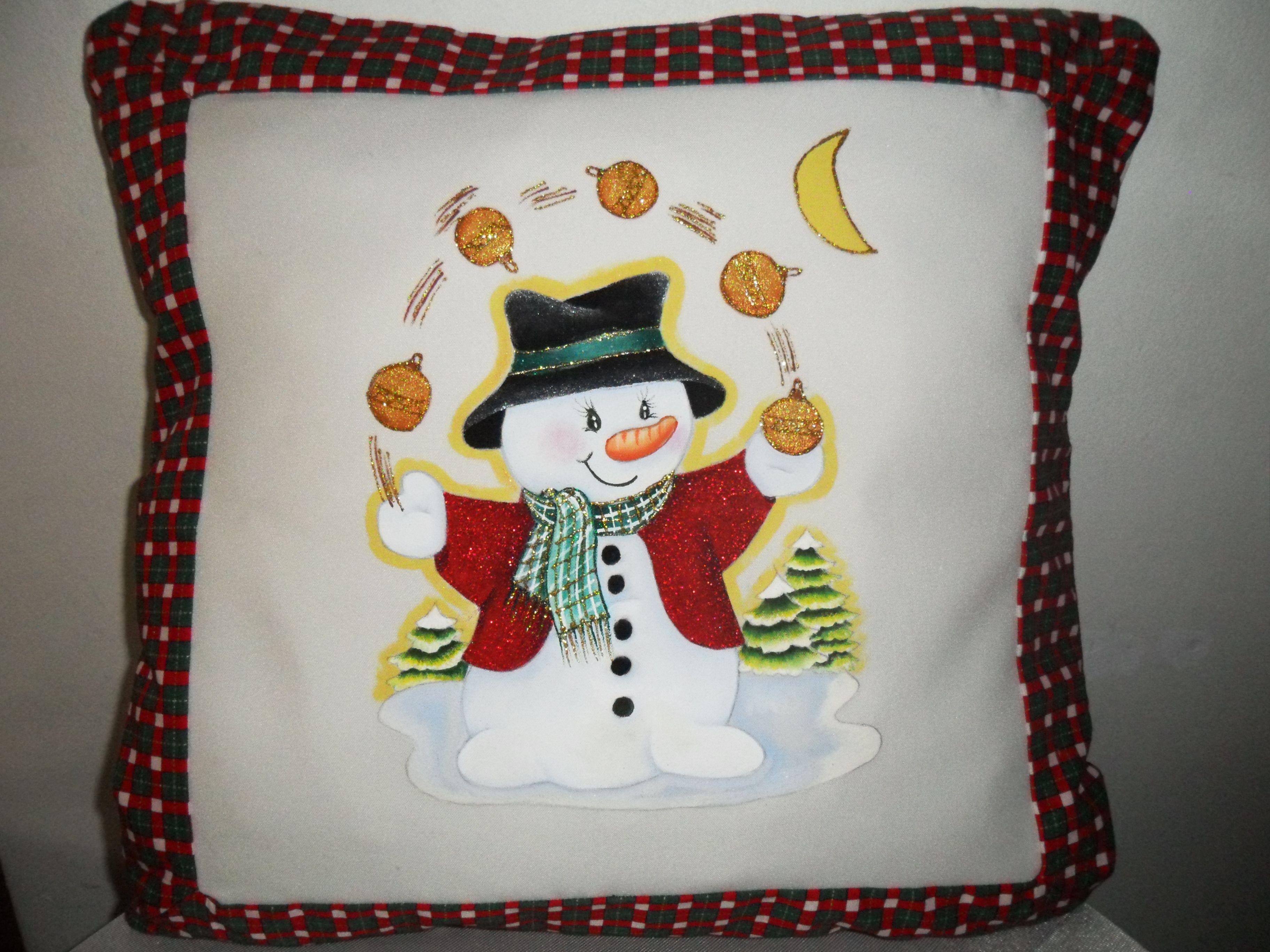 Cojin navide o pintado a mano sobre tela navidad - Dibujos navidenos para pintar en tela ...