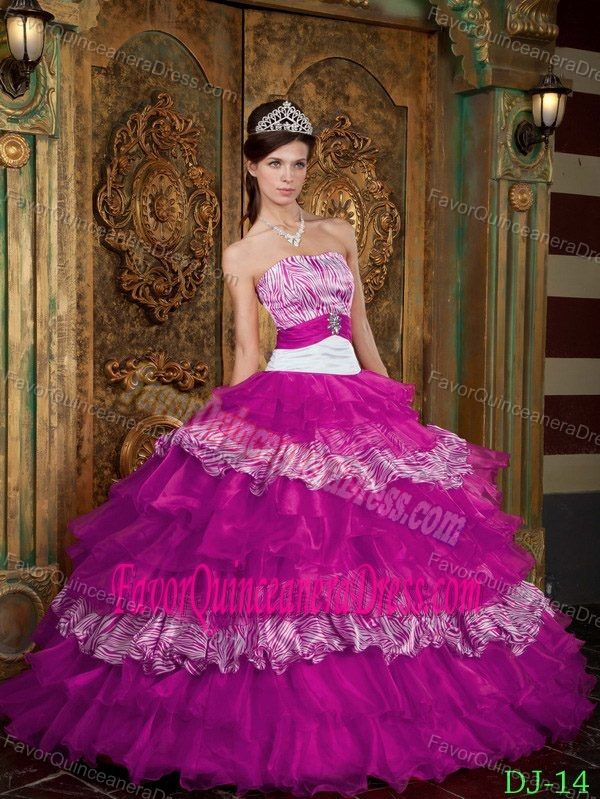 1f9945dbec Fitted Fuchsia Floor-length Organza Zebra Quinceanera Dress with Ruffles