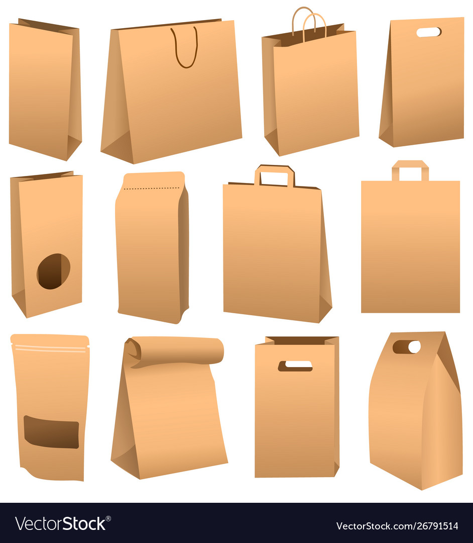 Brown Paper Bag Set Isolated On White Background Vector Image Brown Paper Bag Paper Bag Diy Paper Bag