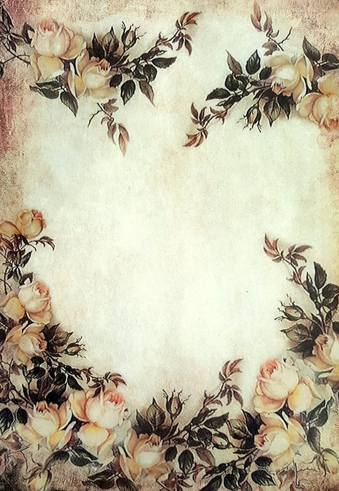Scrapbooking Vintage Sheet of Rice Paper Autumn  Roses for Decoupage
