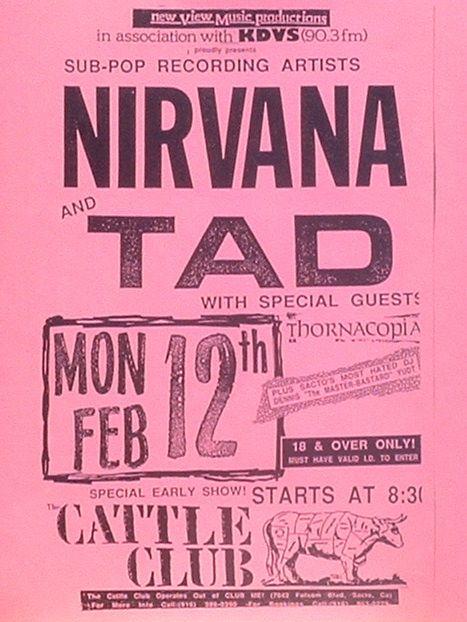 Nirvana Amp Tad At The Cattle Club Sacramento Ca Gig