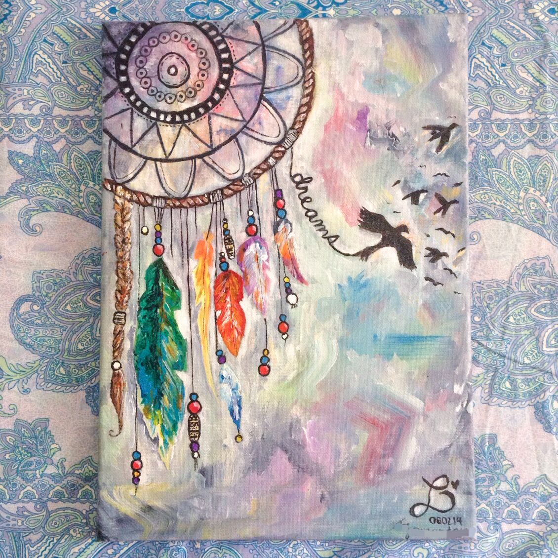 Dream catcher made for someone special acrylic on 10x12 for Background painting ideas