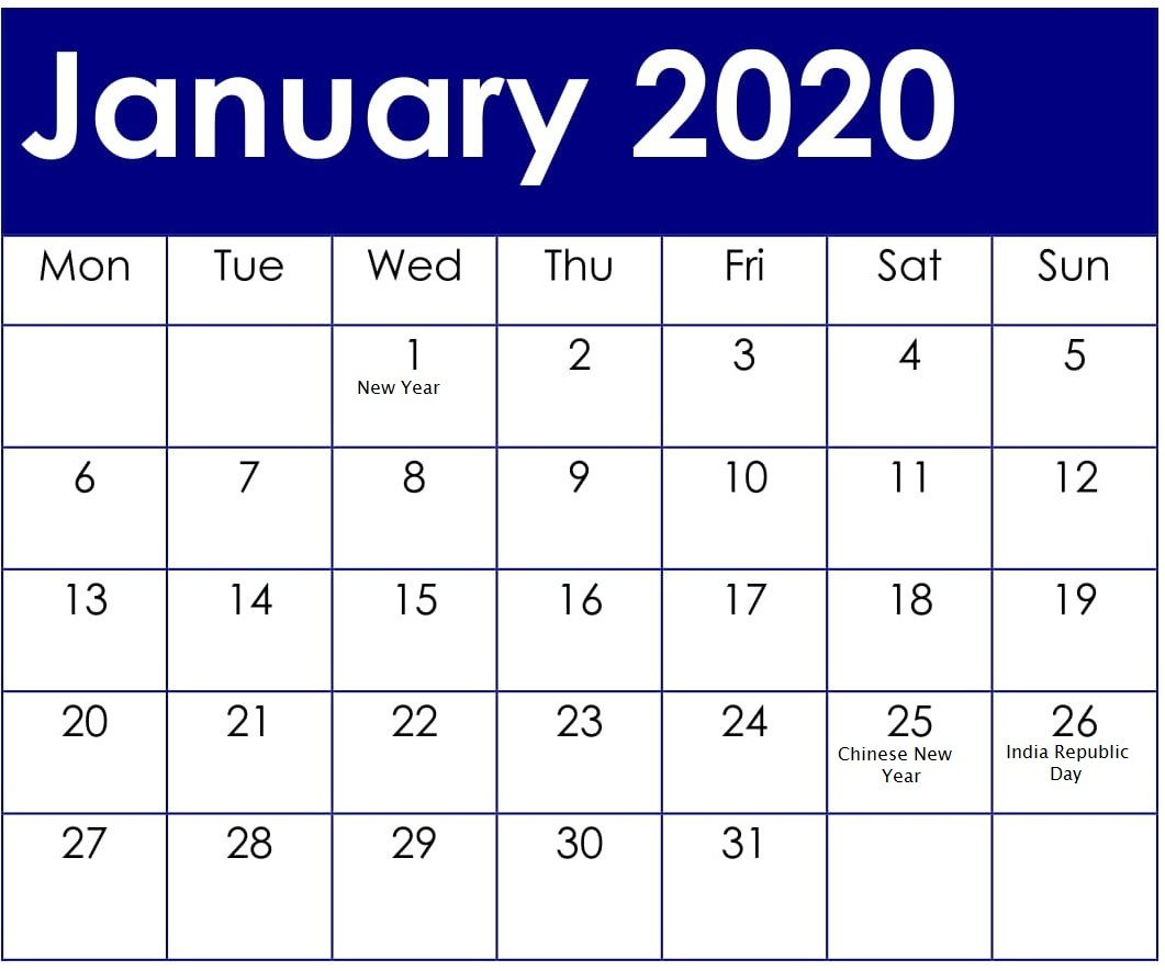 January 2020 Calendar Us Holiday Calendar January Calendar