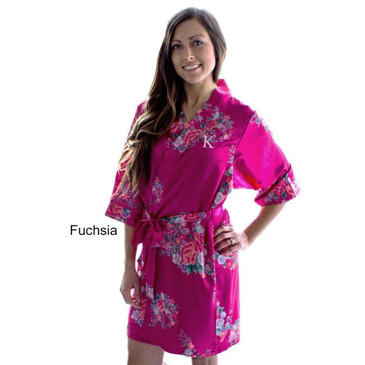 Our personalized floral satin bridesmaid wedding day robe makes getting ready for the wedding fun. Perfect for a group photo. Substantial in weight with quality finishing touches.