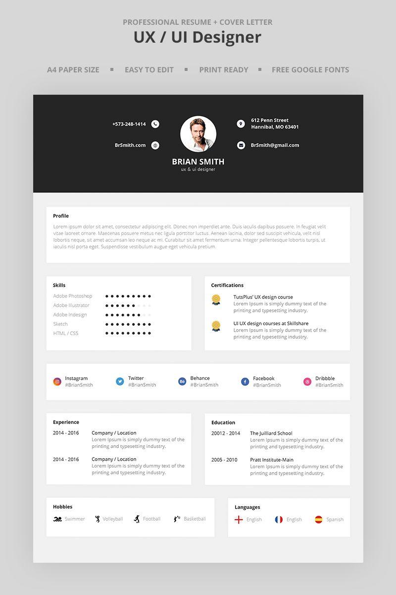 Brian Smith Ux Ui Designer Resume Template Designs Resume