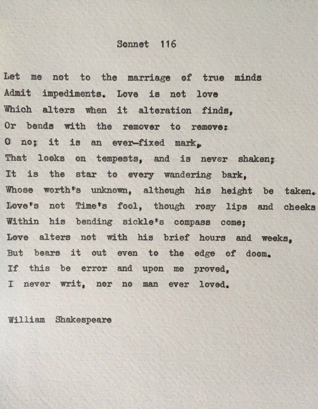 Marriage Quotes From Literature - Shakespeare sonnet 116 love poem wedding reading hand typed on typewriter