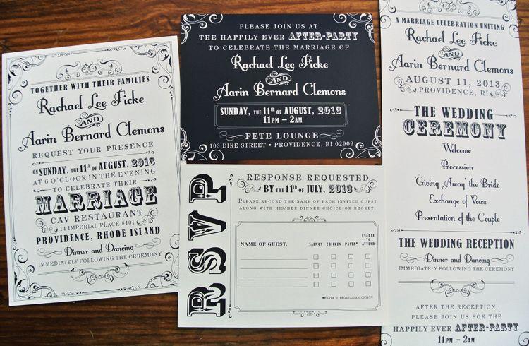 Black  White Vintage Steampunk Poster Style Wedding Invitations