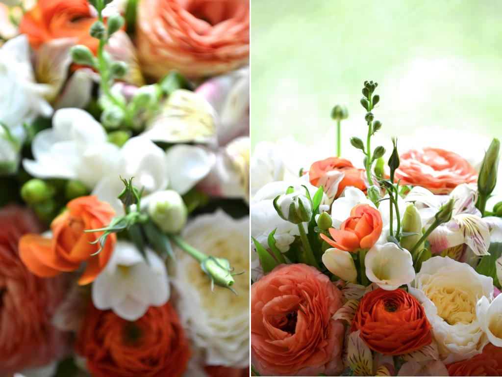 Coral Garden Rose table centerpieces - 1) apricot blend ranunculus - http://www