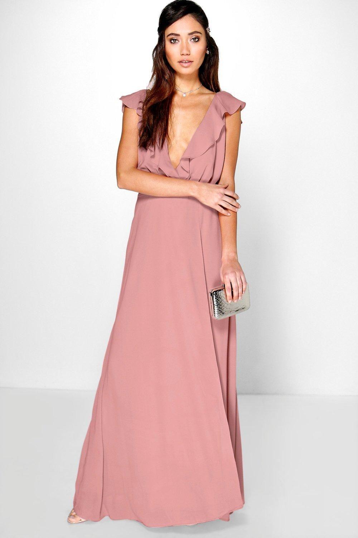 Daisy Frill Wrap Detail Chiffon Maxi Dress | Chiffon maxi, Boohoo ...