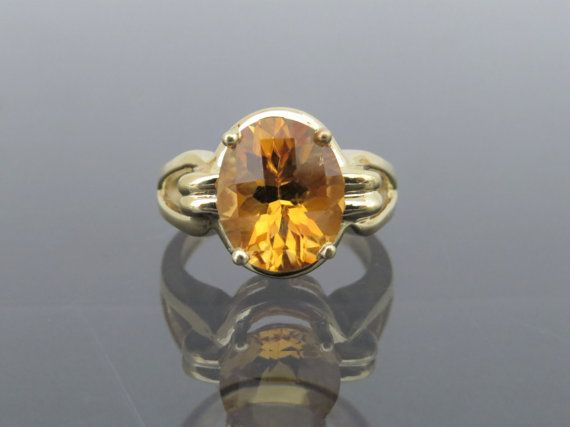 Vintage 10k Solid Yellow Gold 5 05ct Citrine Ring Size 6 Etsy Citrine Ring Yellow Gold Citrine