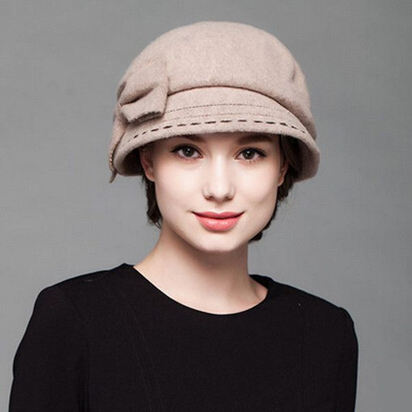 9173f51ece207 Womens large bow beret hat for winter fashion wool hats