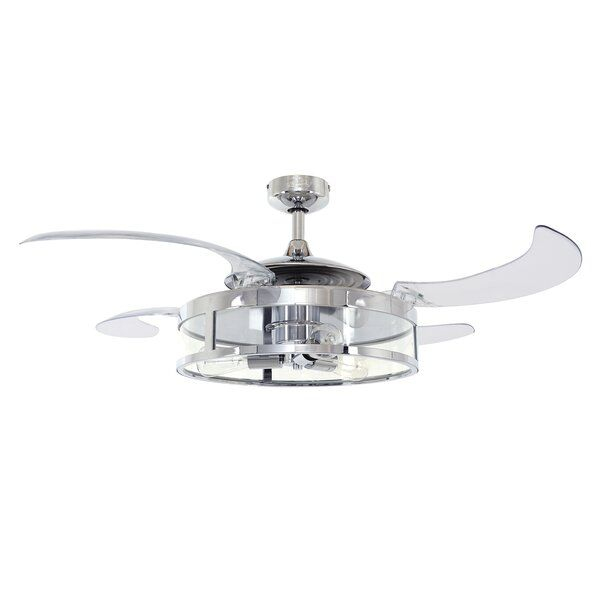Retractable Acrylic Blades Ceiling Fan And Light In Oil Rubbed