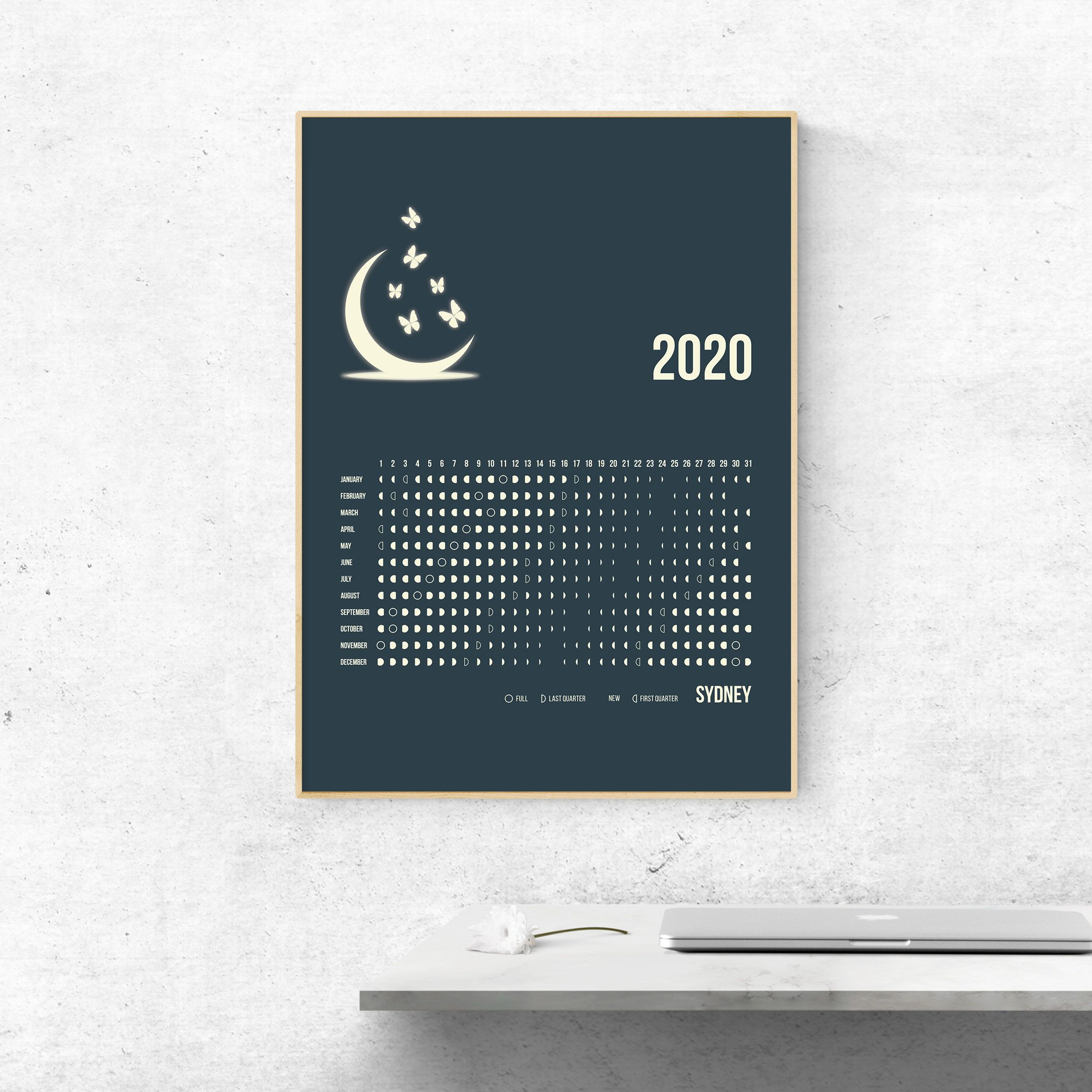 2020 Printable Southern Hemisphere Perth Moon Calendar 2020