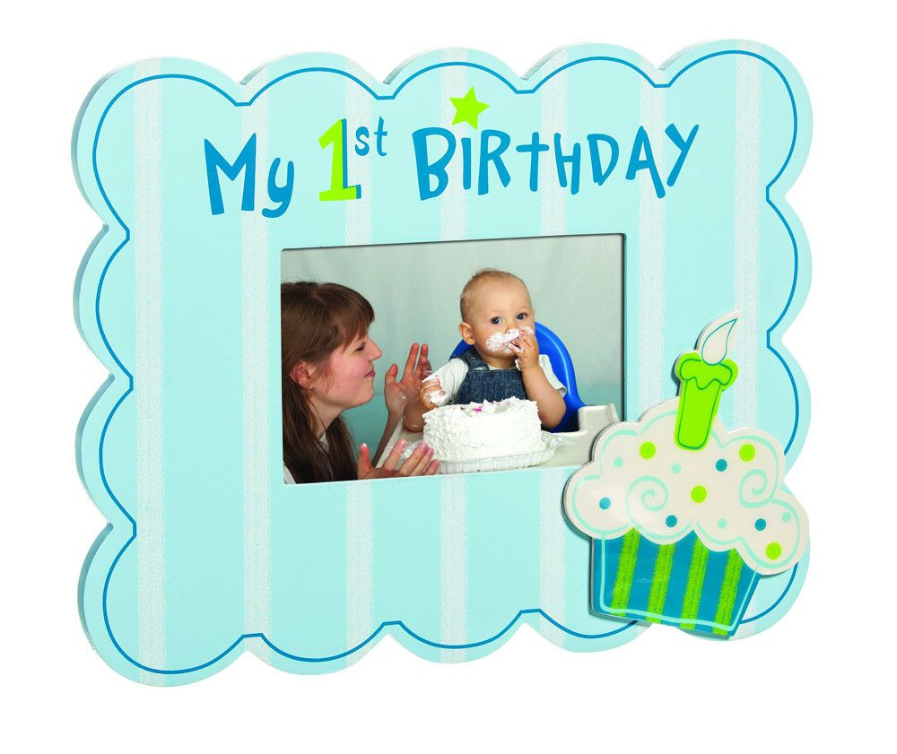 Blue My First Birthday Cupcake 4X6 Picture Frame   Our Products ...