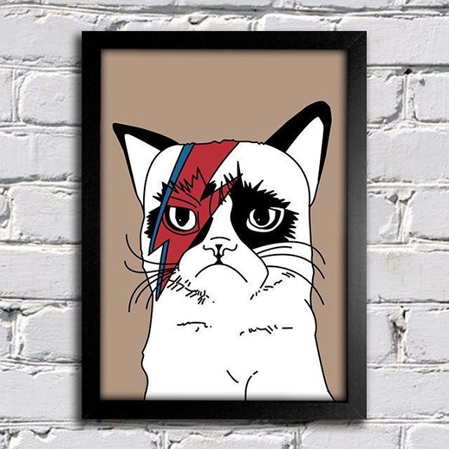 Pôster David Bowie Gato disponível em nossa loja. Acesse link na bio.😉 #grumpy #grumpycat #cat #gato #davidbowie #davidbowieis #poster #posteres #posters #posterdecor #posterdesign #decoracao #decora #quadronaparede #quadrosdecorativos #catlover #instafun #funny