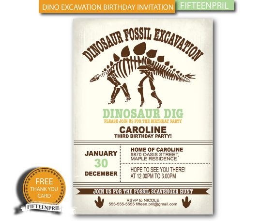 INSTANT DOWNLOAD- Dinosaur Fossil Excavation Birthday Invitation - download invitation card