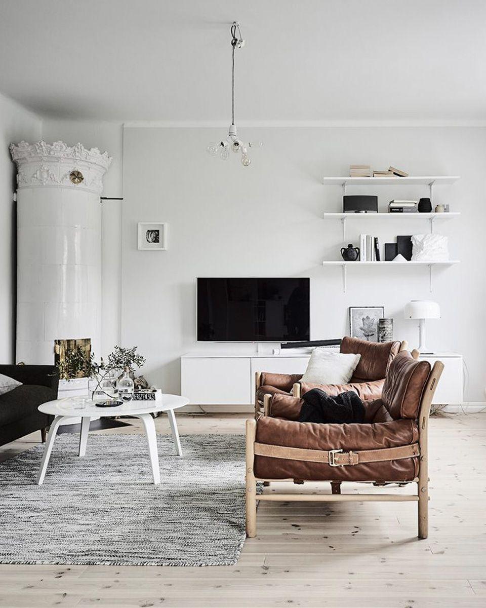 du cuir dans la d co du salon architecture design. Black Bedroom Furniture Sets. Home Design Ideas