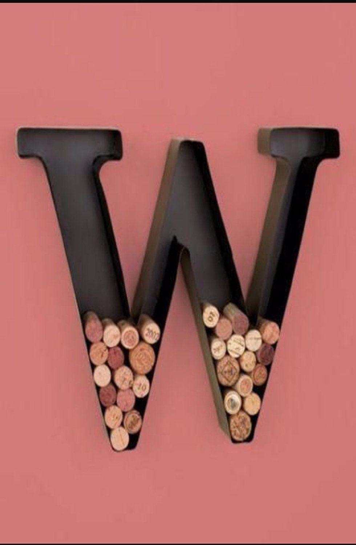 Personalized letter w metal wall wine cork holder monogram wall art