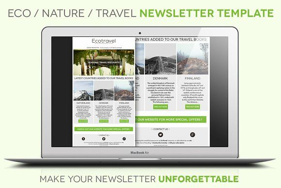 Eco/Travel Newsletter Template by Grafixity on @creativemarket