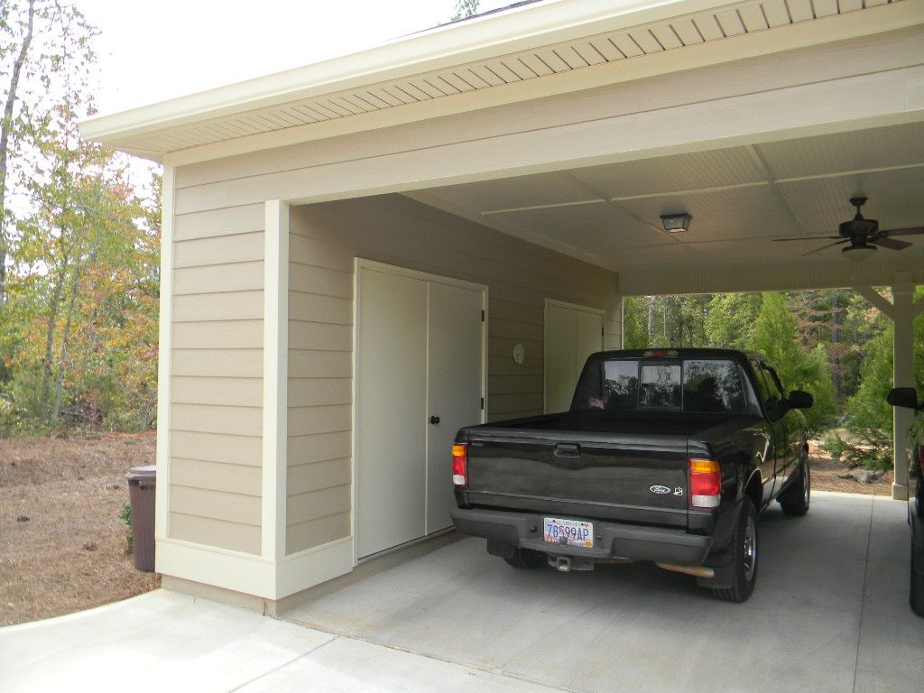Carport storage upgrade house pinterest storage for Garage with carport plans