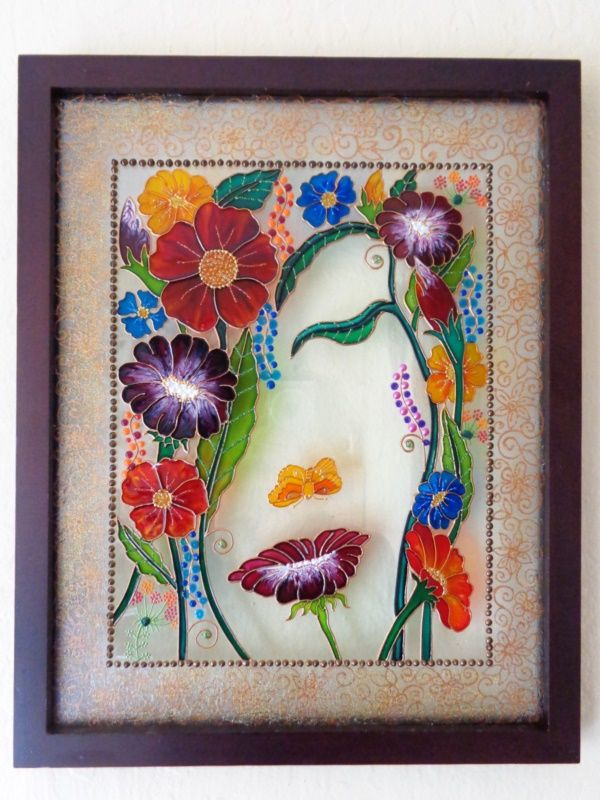 42 Beautiful Glass Painting Ideas And Designs For Beginners In 2020 Bohemian Painting Glass Painting Designs Glass Painting