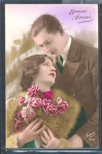 PM062-ART-DECO-FASHION-COUPLE-Romance-KITSCH-FRENCH-Tinted-PHOTO-pc