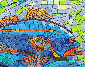 First Run Paper Tile Mosaic Large Original Art Unique Process Fish