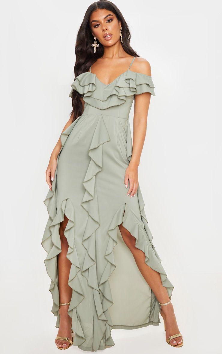 Sage Green Cold Shoulder Ruffle Detail Maxi Dress Maxi Dress Ruffled Maxi Dress Long Sleeve Bodycon Dress [ 1180 x 740 Pixel ]