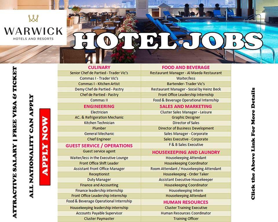 Warwick Jobs Vacancies Warwick International Hotels Hotel