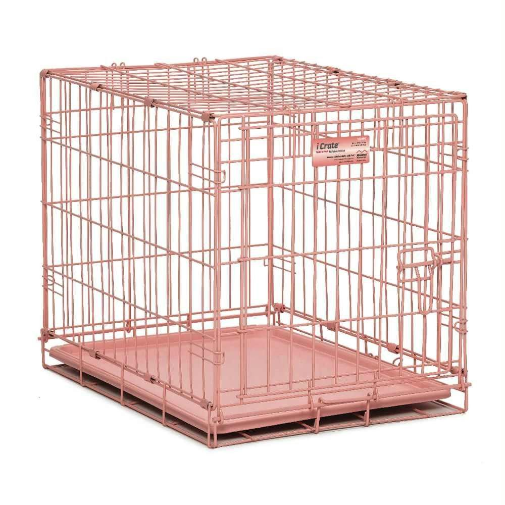 Midwest Icrate Single Door Dog Crate Pink 24